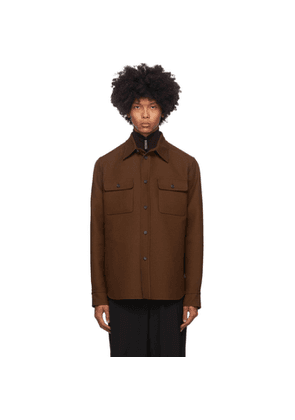 Brioni Brown Wool Double Overshirt