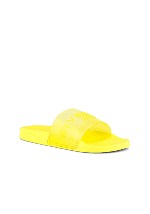 Givenchy Slide Flat Sandal Rubber in Fluo Yellow - Yellow. Size 39 (also in 40,41,42,43,44,45).