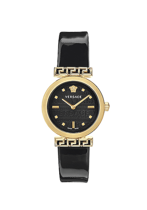 VERSACE Meander 34mm Watch in Yellow Gold & Black - Black. Size all.