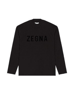 Fear of God Exclusively for Ermenegildo Zegna Oversized Long Sleeve T Shirt in Black - Black. Size S (also in XS,M,XL).
