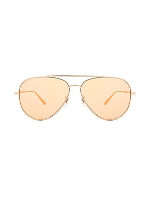 Oliver Peoples x The Row Casse Sunglasses in Gold & Tangerine - Metallic,Orange. Size all.