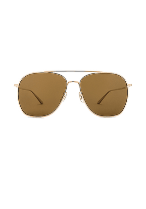 Oliver Peoples x The Row Ellerston Sunglasses in Gold & True Brown Polar - Metallic,Brown. Size all.