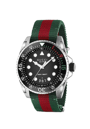 Gucci Dive Watch in Green  Red & Black - Green,Red,Stripes,Black. Size all.