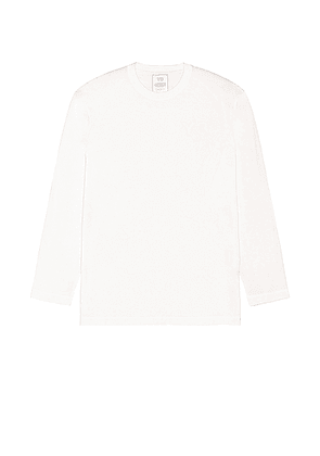 Y-3 Yohji Yamamoto Chest Logo Long Sleeve Tee in Core White - White. Size S (also in M,L).