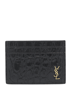 Croc-effect leather card holder