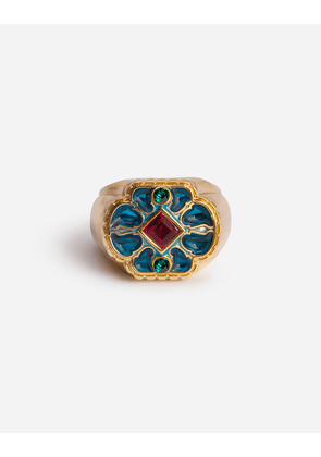 Dolce & Gabbana Bijoux - METAL RING WITH BLUE ENAMELLED FLOWER GOLD male 60