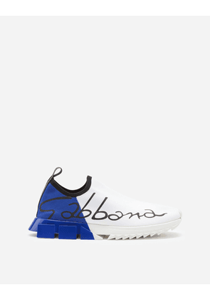 Dolce & Gabbana Private 40 - STRETCH MESH SORRENTO SNEAKERS WITH PAINTED HEEL WHITE/BLUE male 39.5
