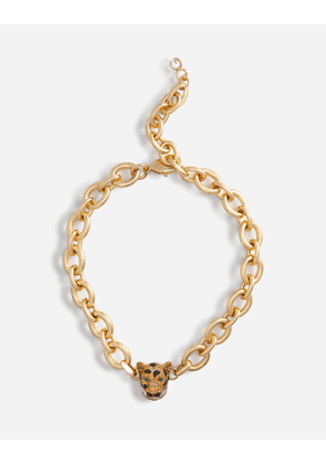 Dolce & Gabbana Bijoux - CHAIN CHOKER NECKLACE WITH LEOPARD IN CRYSTAL PAVÉ GOLD female OneSize
