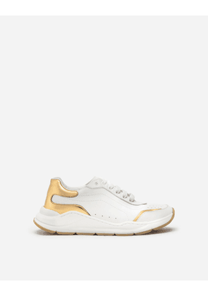 Dolce & Gabbana Shoes (24-38) - DAYMASTER SNEAKERS IN MULTICOLORED NAPPA CALFSKIN WHITE/GOLD female 32