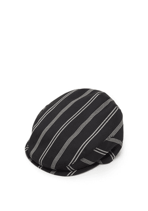 Dolce & Gabbana - Striped Wool-blend Twill Flat Cap - Womens - Black