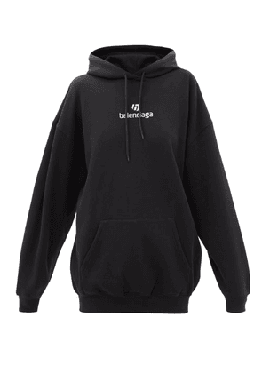 Balenciaga - Logo-embroidered Cotton-jersey Hooded Sweatshirt - Womens - Black