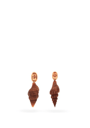 Dezso - Spindle Shell, Topaz & 18kt Gold Earrings - Womens - Gold