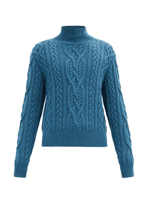 Paul Smith - Roll-neck Cable-knit Wool Sweater - Mens - Blue