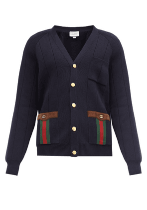 Gucci - Web-stripe Suede-trimmed Wool-blend Cardigan - Mens - Navy