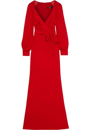 Badgley Mischka Wrap-effect Georgette-paneled Crepe Gown Woman Red Size 6