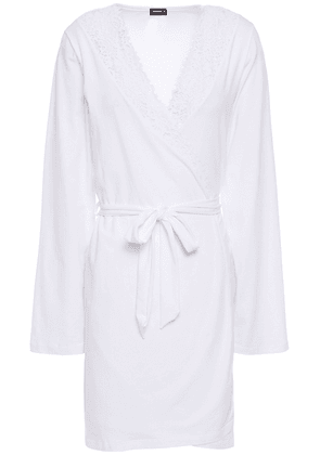 Cosabella Jazmine Lace-trimmed Cotton-blend Jersey Robe Woman White Size L