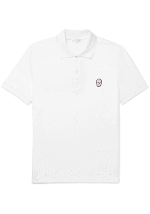 Alexander McQueen - Slim-Fit Skull-Embellished Organic Cotton-Piqué Polo Shirt - Men - White