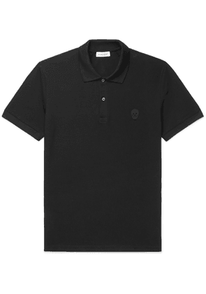 Alexander McQueen - Slim-Fit Skull-Embellished Organic Cotton-Piqué Polo Shirt - Men - Black