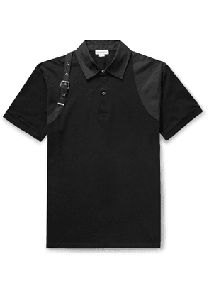 Alexander McQueen - Harness-Detailed Cotton-Piqué Polo Shirt - Men - Black
