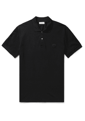 Alexander McQueen - Logo-Appliquéd Cotton-Piqué Polo Shirt - Men - Black