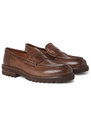 Brunello Cucinelli - Burnished-Leather Penny Loafers - Men - Brown