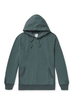 Champion - Craig Green Garment-Dyed Loopback Cotton-Blend Jersey Hoodie - Men - Blue