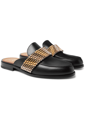 Christian Louboutin - Studded Leather Backless Loafers - Men - Black