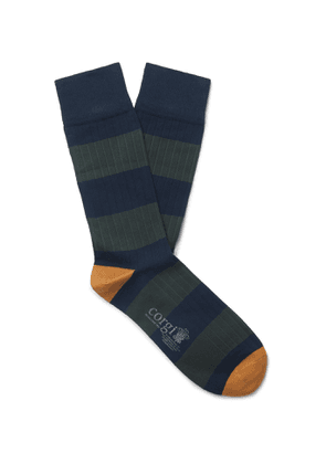 Corgi - Striped Ribbed Cotton-Blend Socks - Men - Green