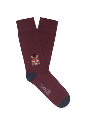 Corgi - Intarsia Cotton-Blend Socks - Men - Burgundy