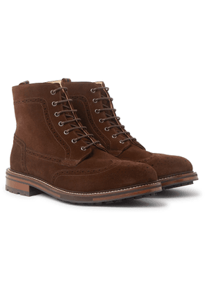 Dunhill - Country Suede Brogue Boots - Men - Brown