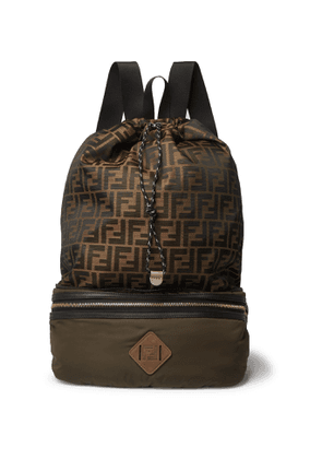 Fendi - Convertible Leather and Suede-Trimmed Shell and Canvas Backpack - Men - Green