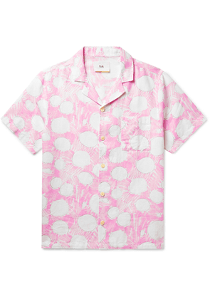 Folk - Daniel Johnston Camp-Collar Printed Linen Shirt - Men - Pink