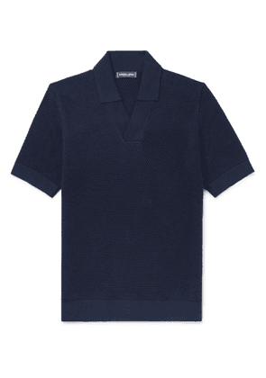 Frescobol Carioca - Textured Cotton and Merino Wool-Blend Polo Shirt - Men - Blue