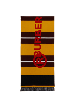 Burberry Burgundy and Yellow Striped Jacquard Scarf