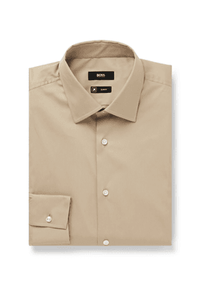 Hugo Boss - Slim-Fit Cotton-Blend Poplin Shirt - Men - Neutrals