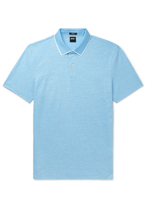Hugo Boss - Pitton Contrast-Tipped Melangé Cotton Polo Shirt - Men - Blue