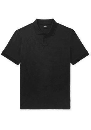 Hugo Boss - Pye Textured Stretch-Cotton Polo Shirt - Men - Black