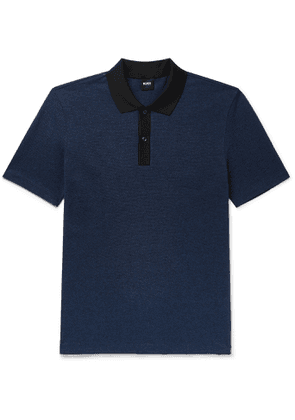 Hugo Boss - Mélange Textured Cotton-Blend Polo Shirt - Men - Blue