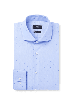 Hugo Boss - Dobby Slim-Fit Cutaway-Collar Polka-Dot Embroidered Cotton Shirt - Men - Blue