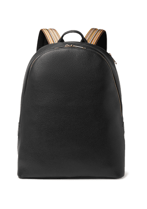 Paul Smith - Striped Webbing-Trimmed Full-Grain Leather Backpack - Men - Black