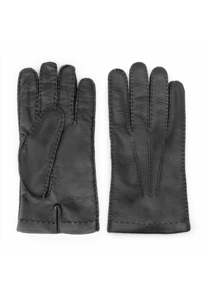 Dalgado - Handmade Deer Touch Leather Gloves Black Pierluigi