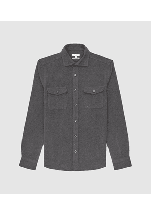 Reiss Miami - Twin Pocket Overshirt in Charcoal, Mens, Size XS