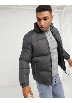 Brave Soul puffer jacket with funnel neck-Grey