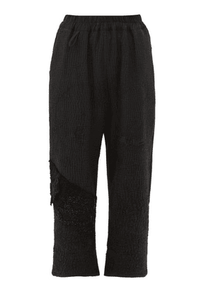 By Walid - Vintage Jet-beaded Cotton Cropped Trousers - Womens - Black
