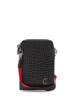 Christian Louboutin - Loubilab Crocodile-effect Leather Phone Pouch - Mens - Black