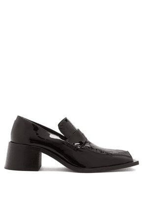 Martine Rose - Bagleys Square-toe Patent-leather Loafers - Mens - Black
