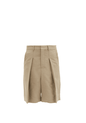 Ami - Exaggerated-pintuck Twill Bermuda Shorts - Mens - Beige