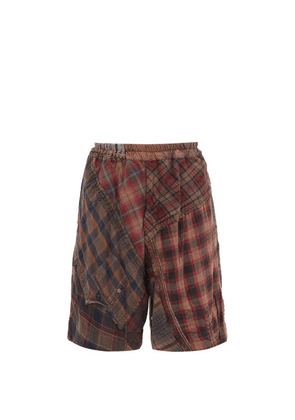 By Walid - Lesley Patchwork Cotton Shorts - Mens - Brown
