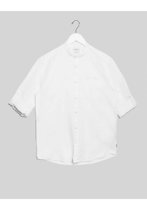 Esprit shirt with granddad collar and roll sleeves in white