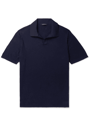 Ermenegildo Zegna - Textured-Cotton Polo Shirt - Men - Blue